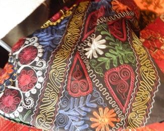 Beautiful fabric with multi color embroidery.