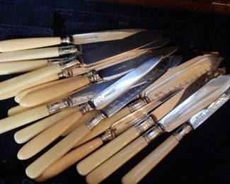 Knives with bone handles.