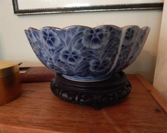 Blue and white bowl. Asian.