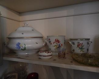 Herend tureen and other Herend containers.