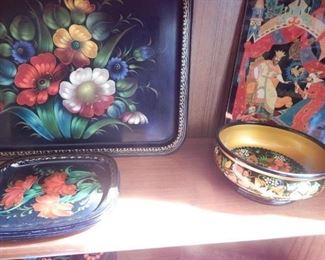 Russian hand painted art and trays.