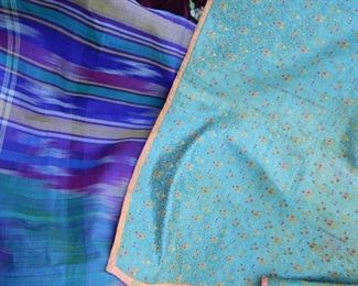 Beautiful fabrics and table clothes.