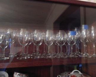 Crystal glasses of all sizes.