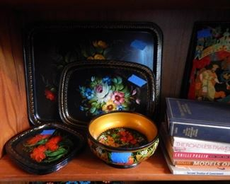 Russian enamel hand painted trays