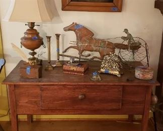 Hunt board with legs shortened, small rug, wood base lamp in Colonial style, top of horse and buggy weathervane(directional available)