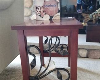2 end tables with wrought iron trim