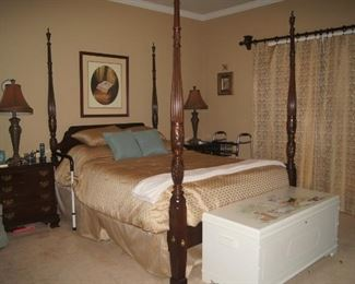 """Ethan Allen Bedroom Suite including Queen sized four post Rice Bed, two night stands, armoire, 74"""" dresser, mattress and nearly new box springs.     (Not included in Half Price Saturday but will negotiate)"""