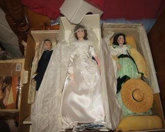Collectable dolls in original packaging - Marian Yu  Designs bride and Franklin Mint Rhett and Scarlett