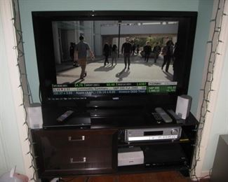 "Vizio 47"" Smart TV, media stand, Panasonic surround sound system, blu-ray player"