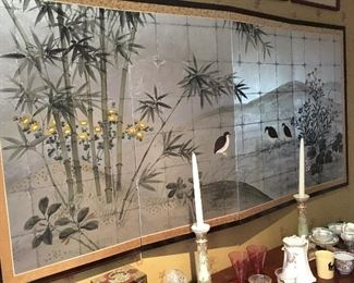 Japanese wall mounted four panel screen