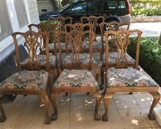 Set of 8 reproduction Chippendale-style dining chairs