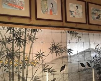 Japanese four panel hand painted screen