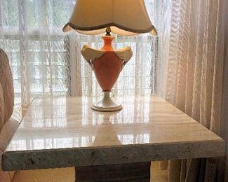 PFL001 Italian Travertine End Table & Doves Lamp
