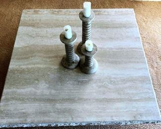 PFL004 Italian Travertine Living Room Table & Stone Candle Holders
