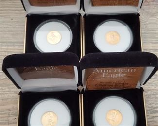 Gold Coins are all 1/10 Oz 999 Pure Gold.  Dates are different.  I have a total of 28 of these coins to sell.