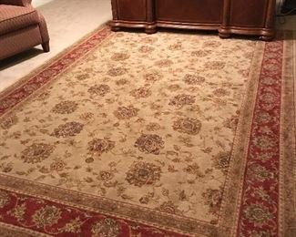 "Large rug 7ft- 8 "" x 10ft 10""  Maroons and tans"