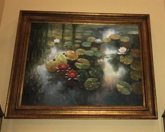 "Large 46"" x 58"" serene oil painting of lily pond."