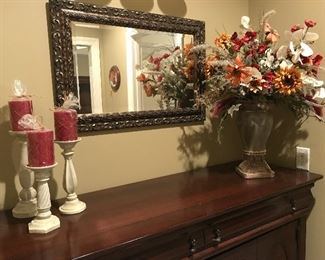 Oblong mirror, 3 pc candle set, beautiful flower arrangement