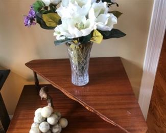 Vintage corner cherry table, marble grapes from Italy
