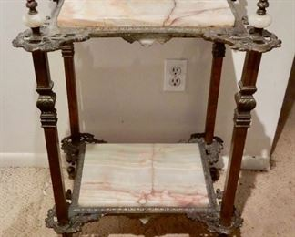 BRONZE AND ALABASTER ANTIQUE TABLES--A PAIR