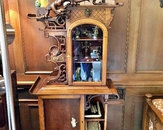 1 of a pair of antique Japanese dragon carved vitrine cabinets