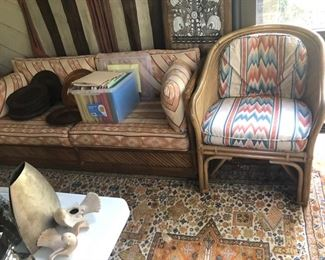 PAIR OF BAMBOO AND RATTAN ARM CHAIRS EXCELLENT