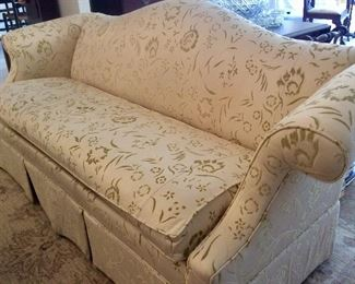 Ethan Allen Camel Back Sofa Silk Brocade