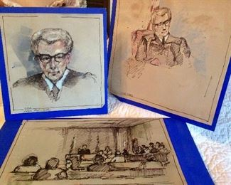 Court Room Watercolor Sketches Original