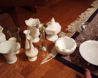 Milk glass and assorted vases