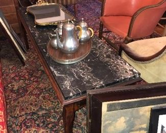 Pewter coffee and tea service   Fabulous marble top table/bench