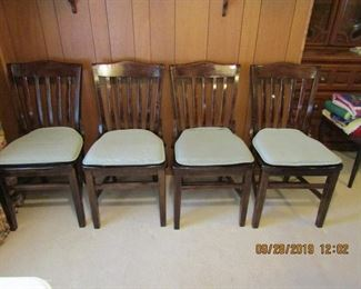 4 antique dinning chairs. They have cushions on them, but they are beautiful without.