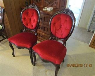 two beautiful red velvet occasional chairs. Only $50. each.