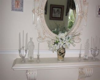 Ornate Entry Table with Matching Mirror and Carved Benches