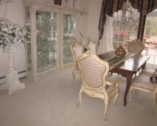 Exquisite Pair of Mirrored Back, Glass Shelves Display Cabinets         Stunning Baker Dining Room Suite     Phyllis Morris Candelabra & Post