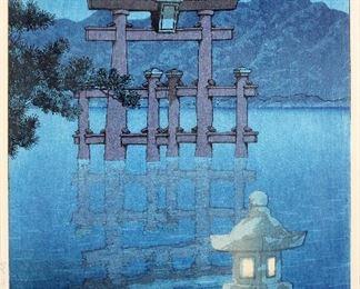 Kawase Hasui (Japanese 1883-1957) Woodblock Print Starlit Night at Miyajima