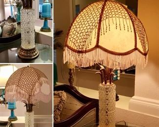 Absolutely gorgeous Cut Crystal and Brass Lamp-Hollywood Regency Era-(Has removeable Chain Mail cover as well)