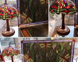 Faux Stained Glass Lamp Available and Window Hanging -Dragonflies SOLD