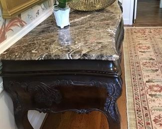 Gorgeous marble top sofa table with deep drawers. Matching coffee table also available upon request   Considering all offers for this gorgeous piece
