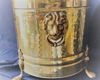 Brass Bucket with Lions Head Handles