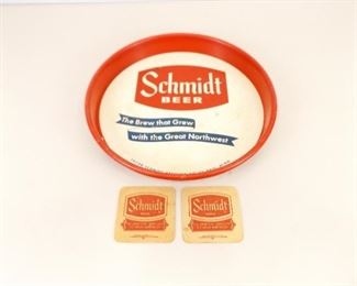 Vintage Advertising Schmidt Beer Metal Serving Tray