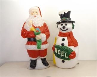 2 Vintage Christmas Santa and Frosty Light up Lawn Ornaments
