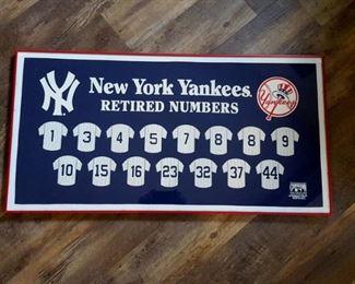 Framed NEW YORK YANKEES BANNER~Retired Numbers