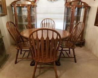 Table with leaf and six chairs. Curios