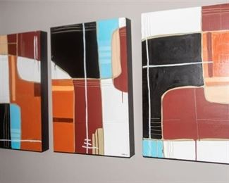 6. Anke Shoefield Amer. b. 1972  Three 3 Abstract Modern Paintings On Board