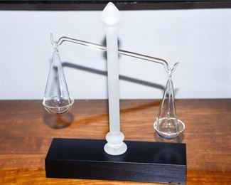 10. Frabel Scales of Justice Glass Sculpture wStand