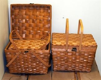 "Large Split Wood Picnic Basket Sets With Hinged Cross Handles, 13"" x 18"" x 15"", Qty 7 Sets Of 2"