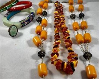Enamel, Jade, Cinnebar, Amber Jewelry