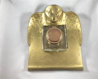 Geschutzt Bronze Depose Owl Inkwell