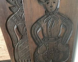 Antique wood cookie / butter molds about 2' long