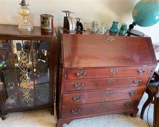 Curio Cabinet Loaded w/Vintage Cameras & Solid Wood Secretary Desk